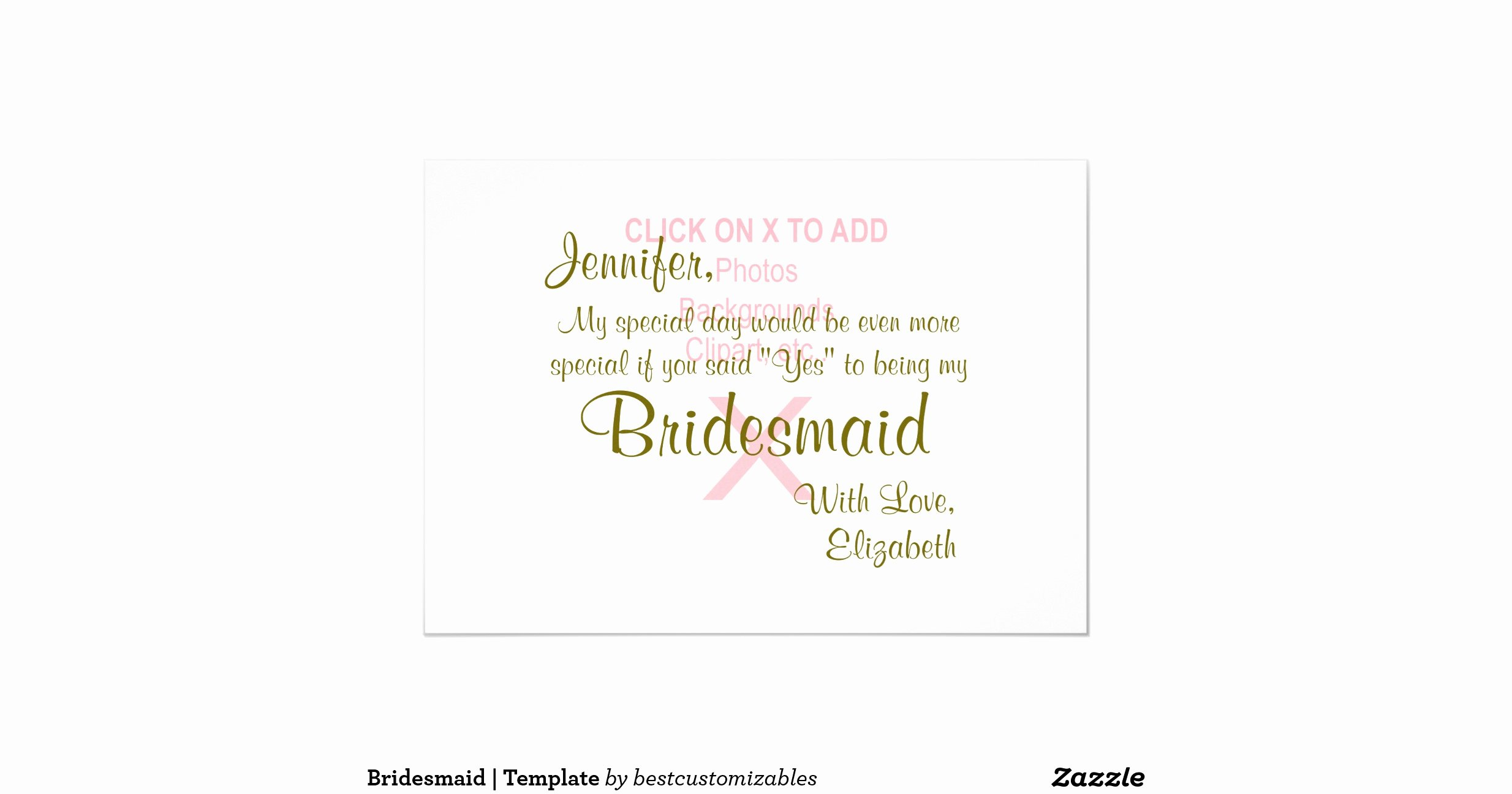 Bridesmaid Template 5x7 Paper Invitation Card