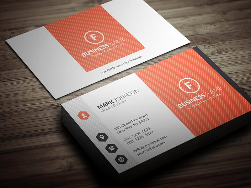 Bright orange Corporate Business Card Template Free