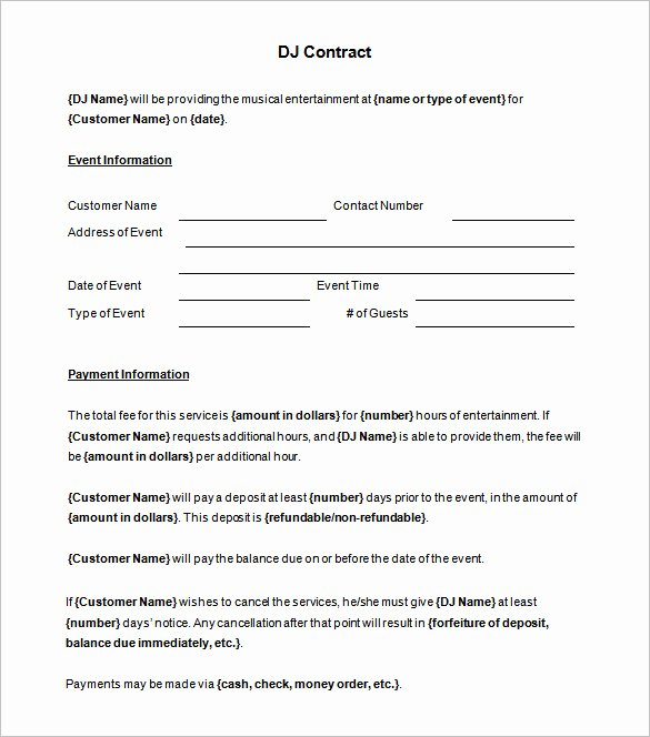 Brilliant Dj Contract Template Sample with Blank event