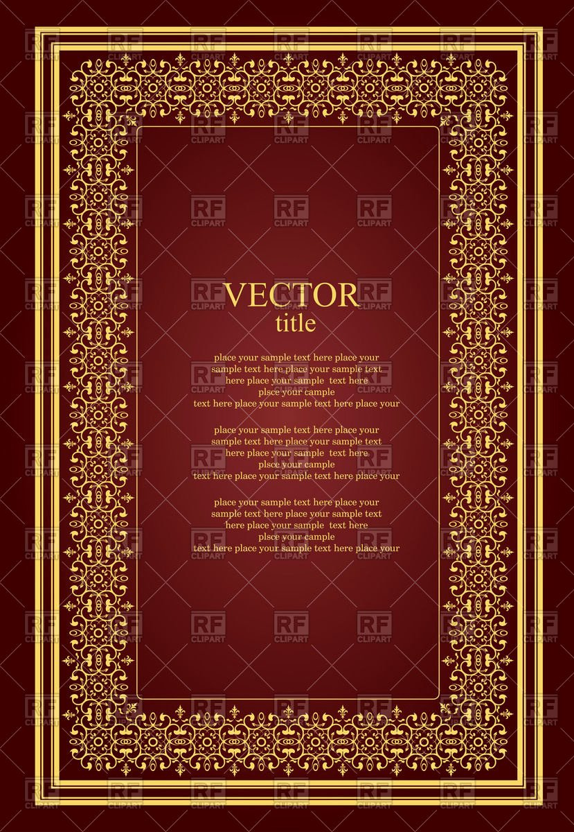 Brochure or Book Cover Template with Golden Vintage
