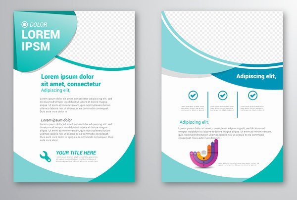 Brochure Template Design with Checkered Curves