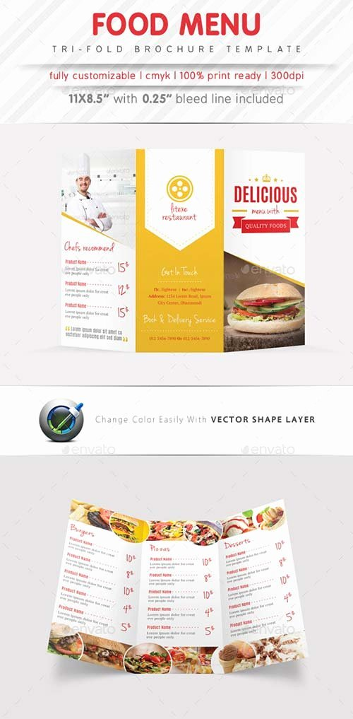 Brochure Templates Graphicriver Food Menu Tri Fold