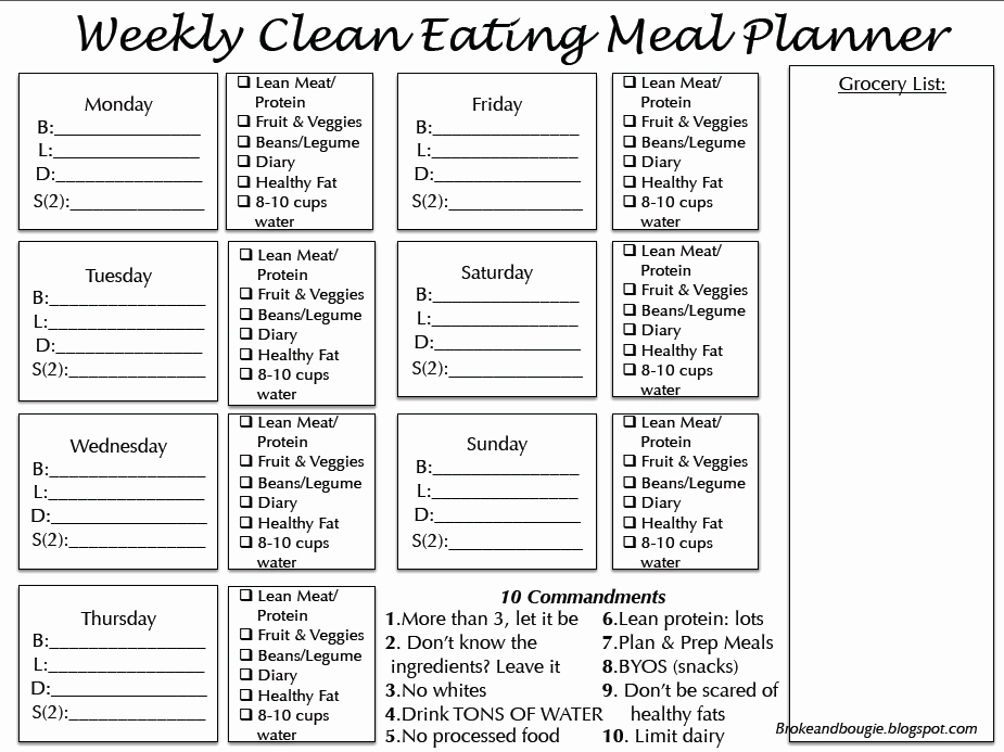 Broke and Bougie Clean Eating Meal Plan Printable Bonus