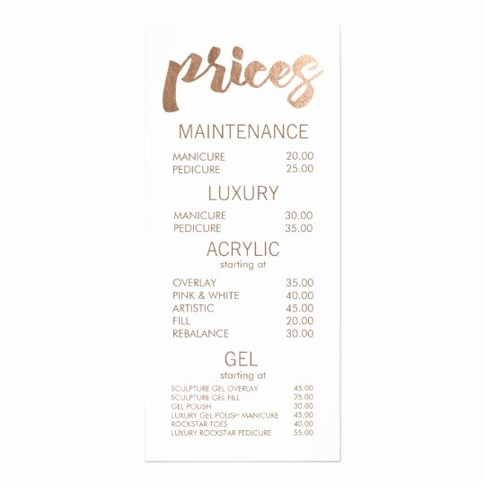 Bronze Salon Retail Menu Price List Template Cards