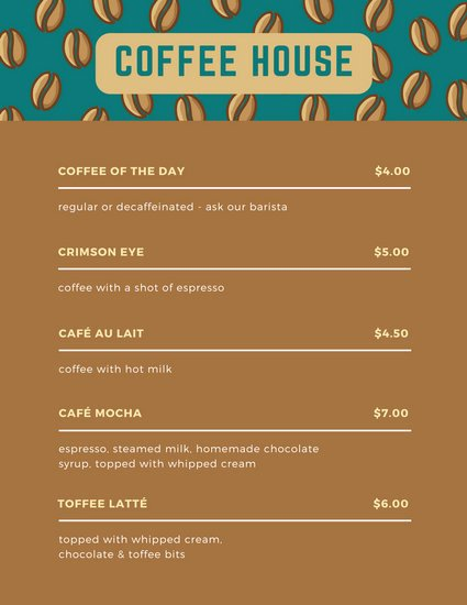 Brown Beans Coffee Shop Menu Templates by Canva