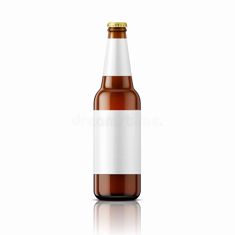 Brown Beer Bottle with Labels Template Stock Vector
