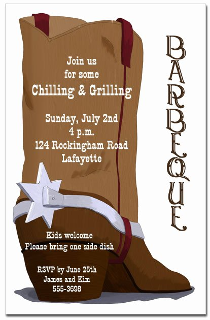 Brown Cowboy Boot Party Invitations Barbeque Invitations