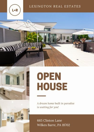 Brown Cream Modern Open House Flyer Templates by Canva