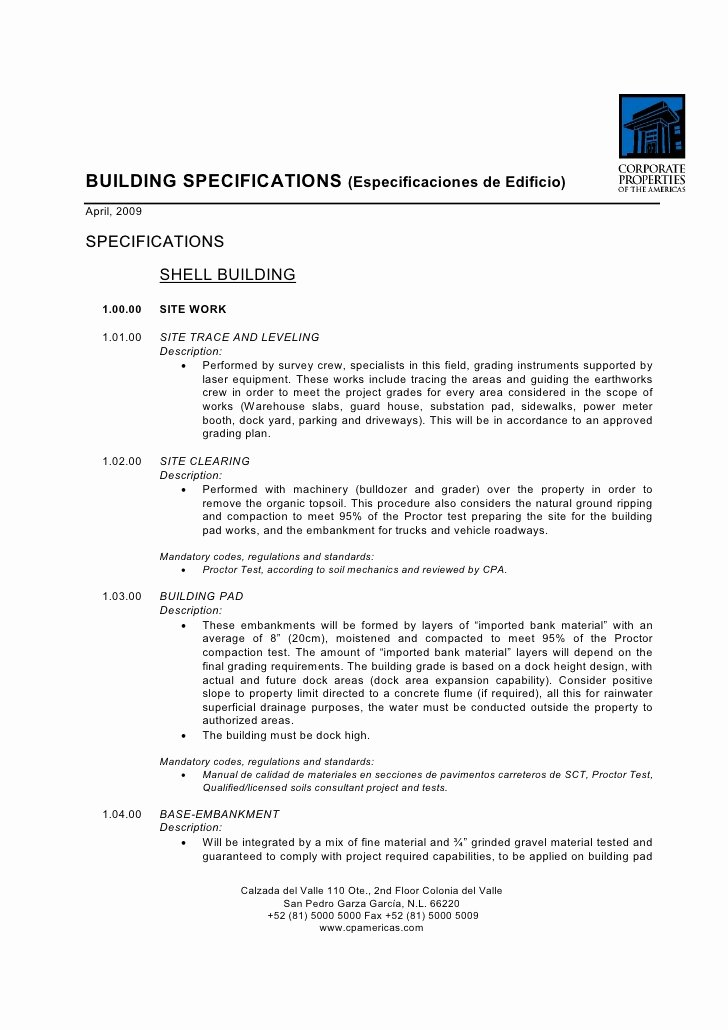 Bts Construction Building Specs Template Tipo