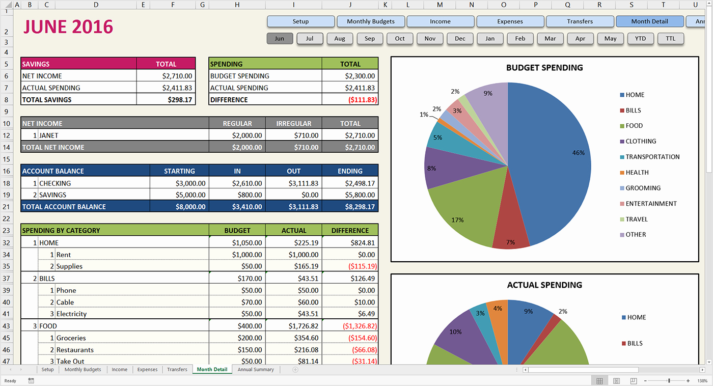 Bud Excel Template