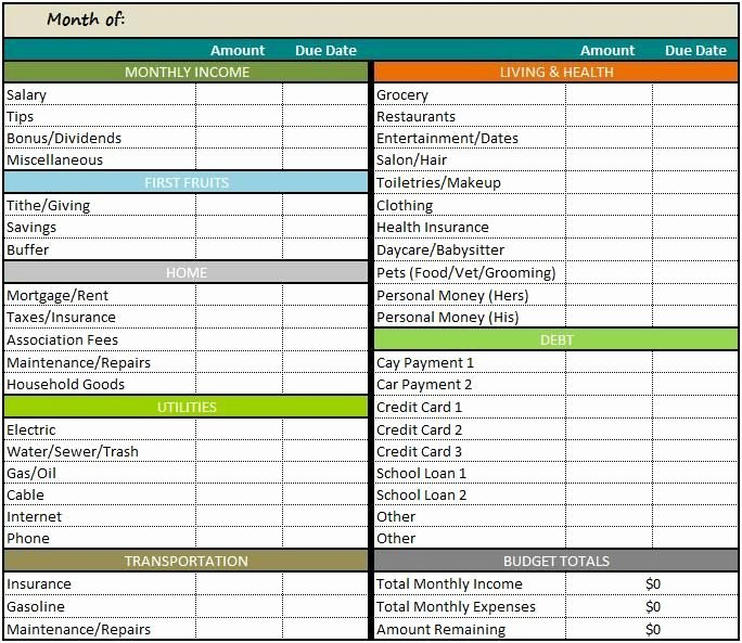Bud Spreadsheet Free Template for Openoffice