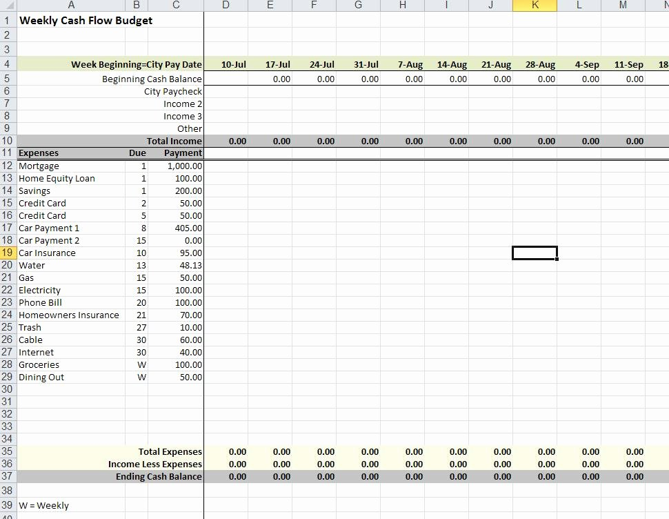 Bud Suggestions and Weekly Cash Flow tool for Employees