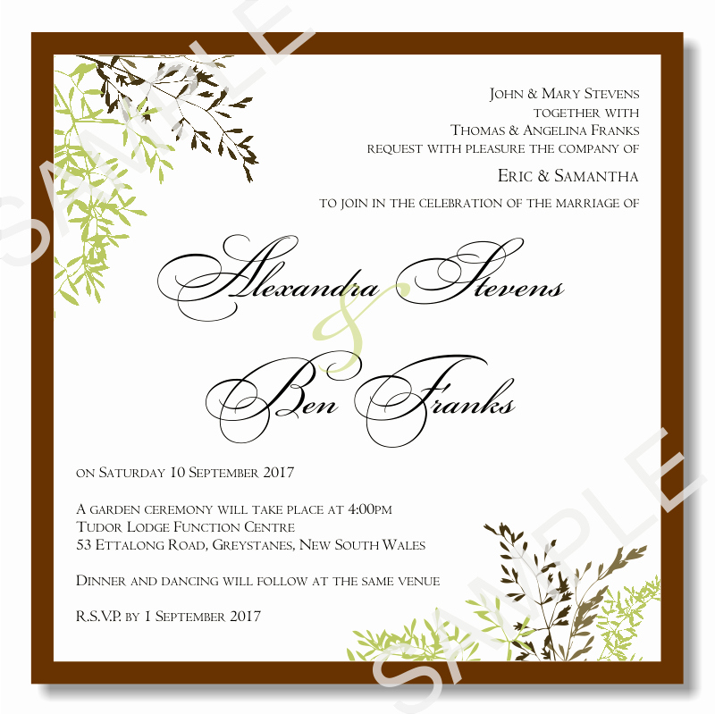 Bud Wedding Invitations Template Wedding Autumn Leaves