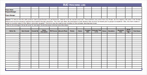 Bug Tracking Template – 4 Free Word Excel Pdf Documents