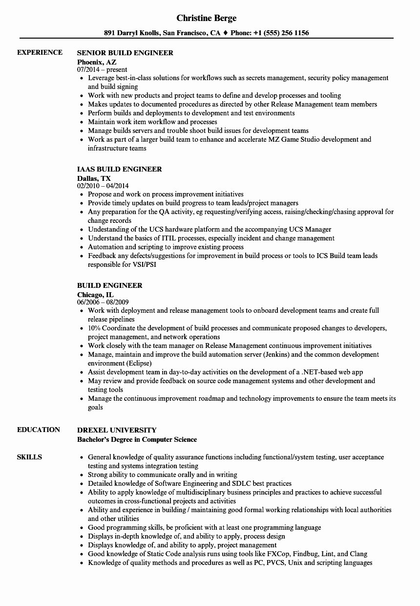 Build and Release Engineer Resume