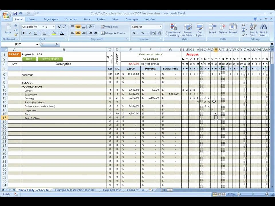Building Cost Estimate Template Excel Free Construction