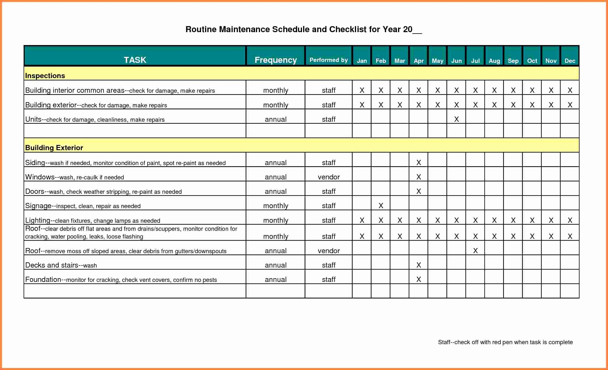 building maintenance schedule excel template 1840