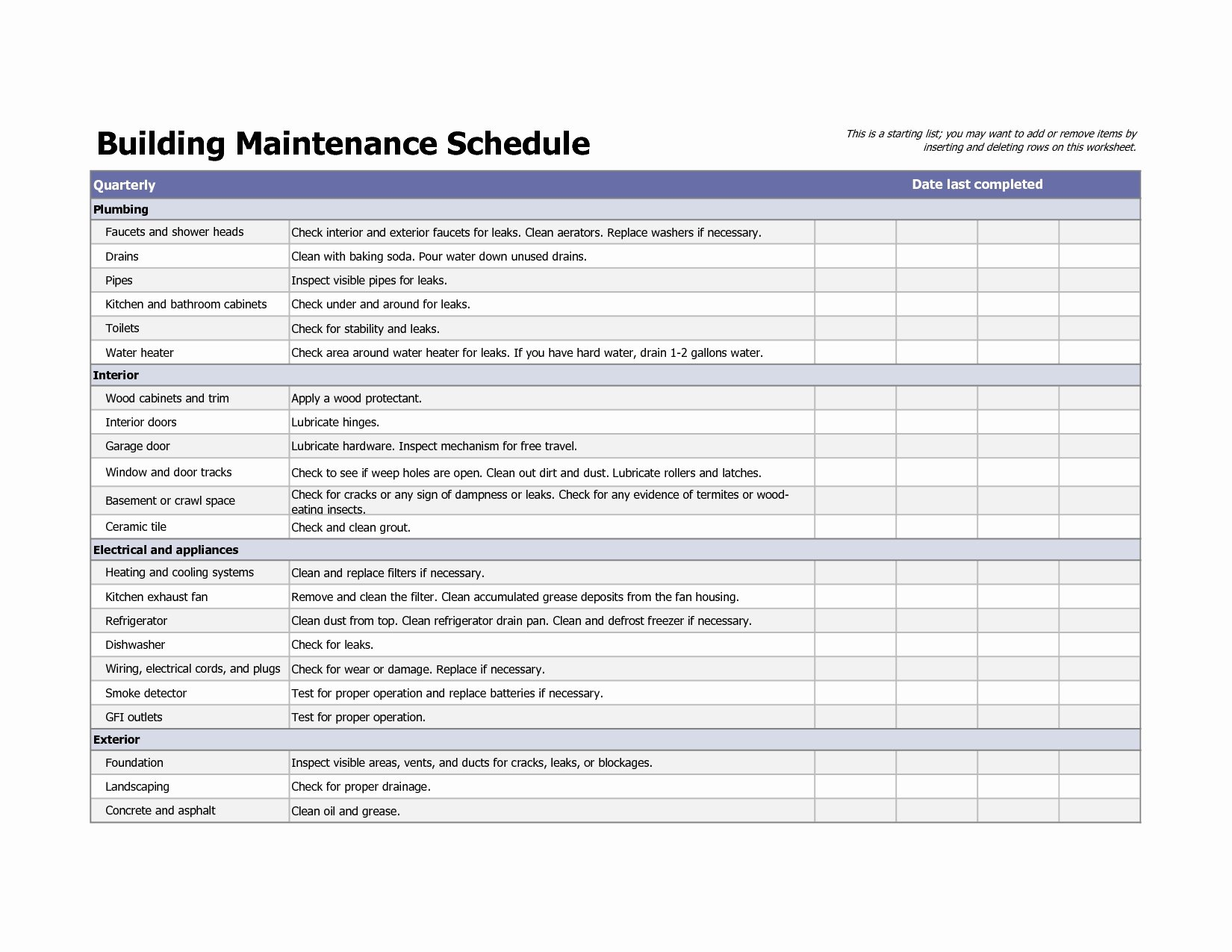 building maintenance schedule excel template 1374