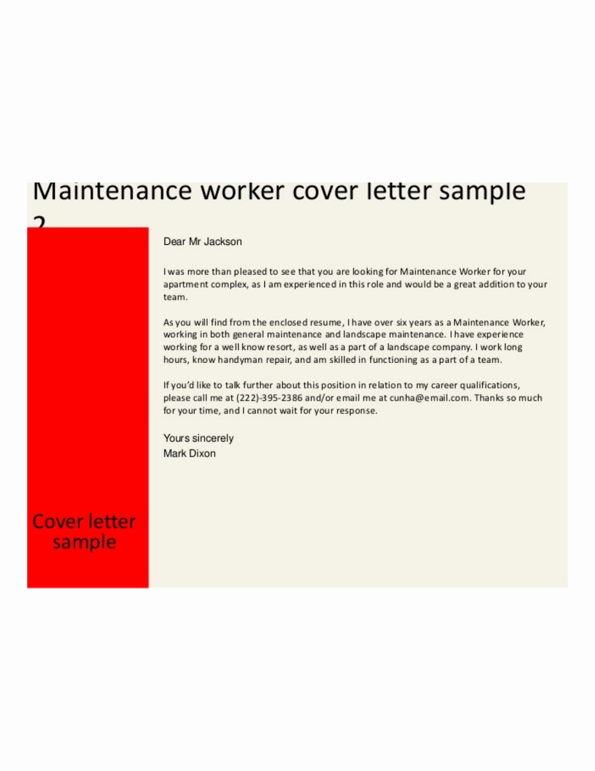 Building Maintenance Worker Cover Letter Samples and Templates