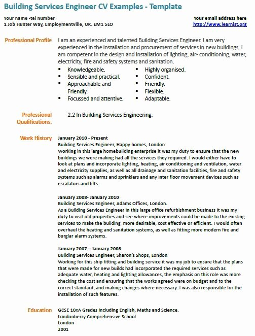 Building Services Engineer Resume Sample Cover Letter