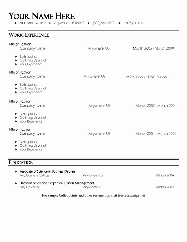 Bullet Point Resume Template Resume Template 1