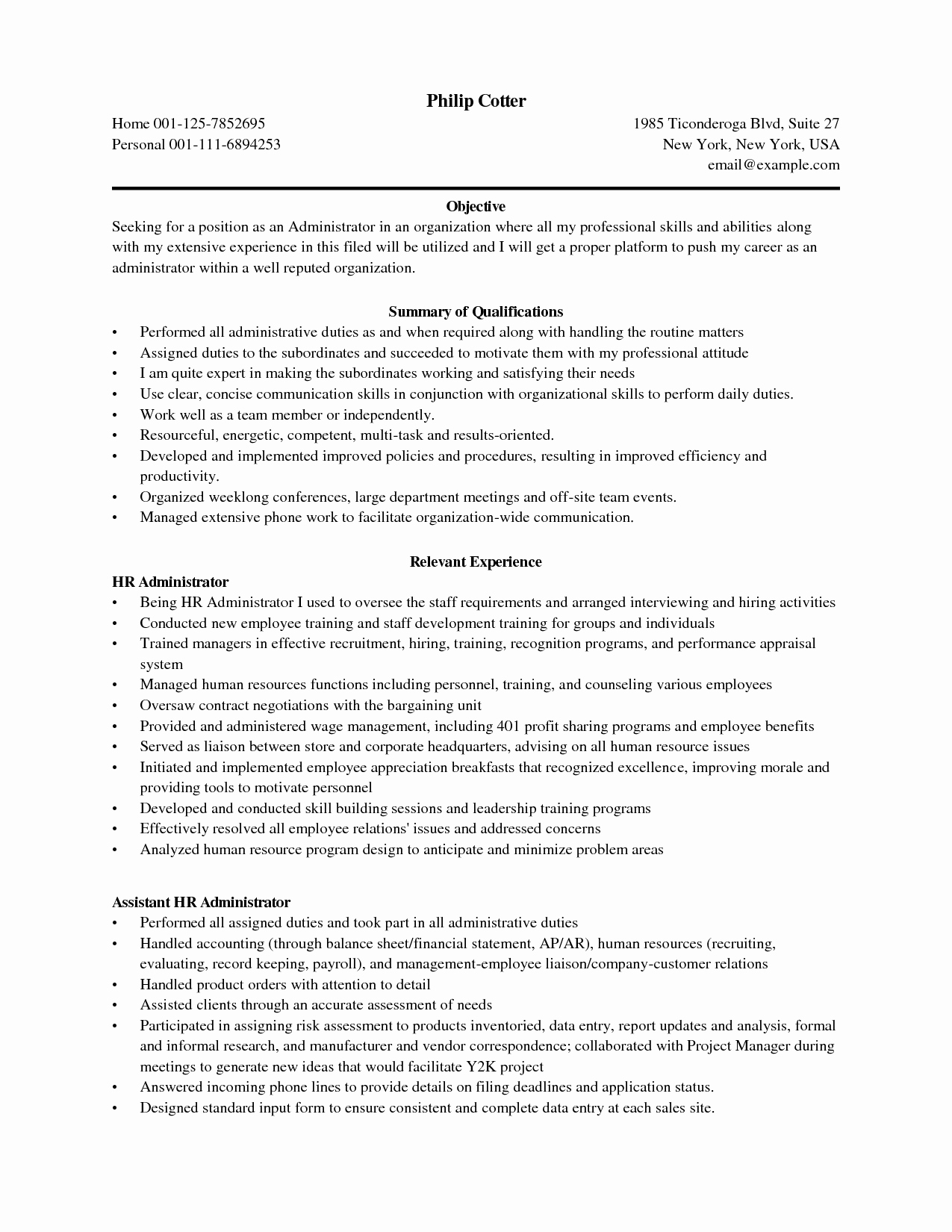Business Admin Resume