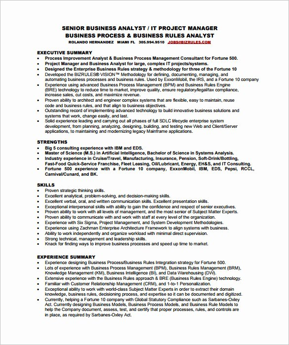 Business Analyst Resume Template – 11 Free Word Excel