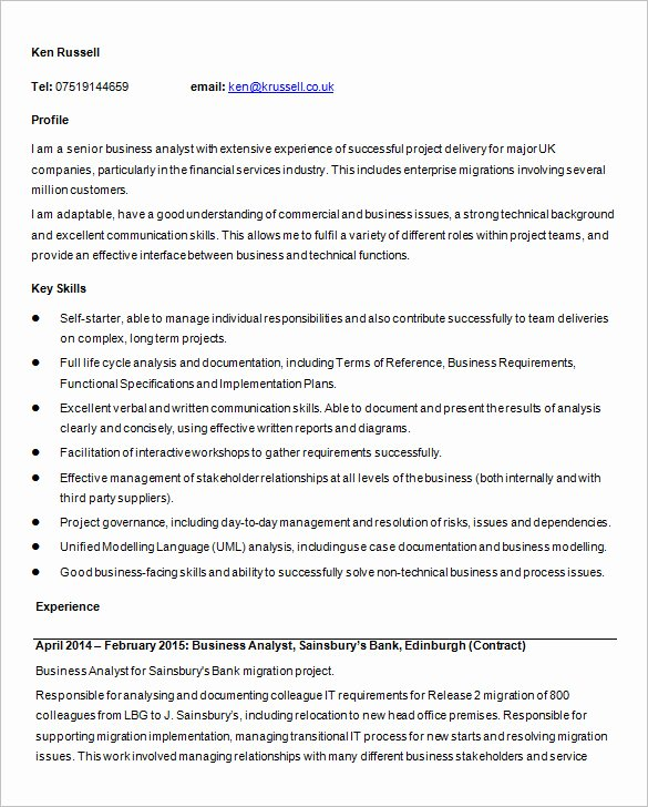 Business Analyst Resume Template – 15 Free Samples