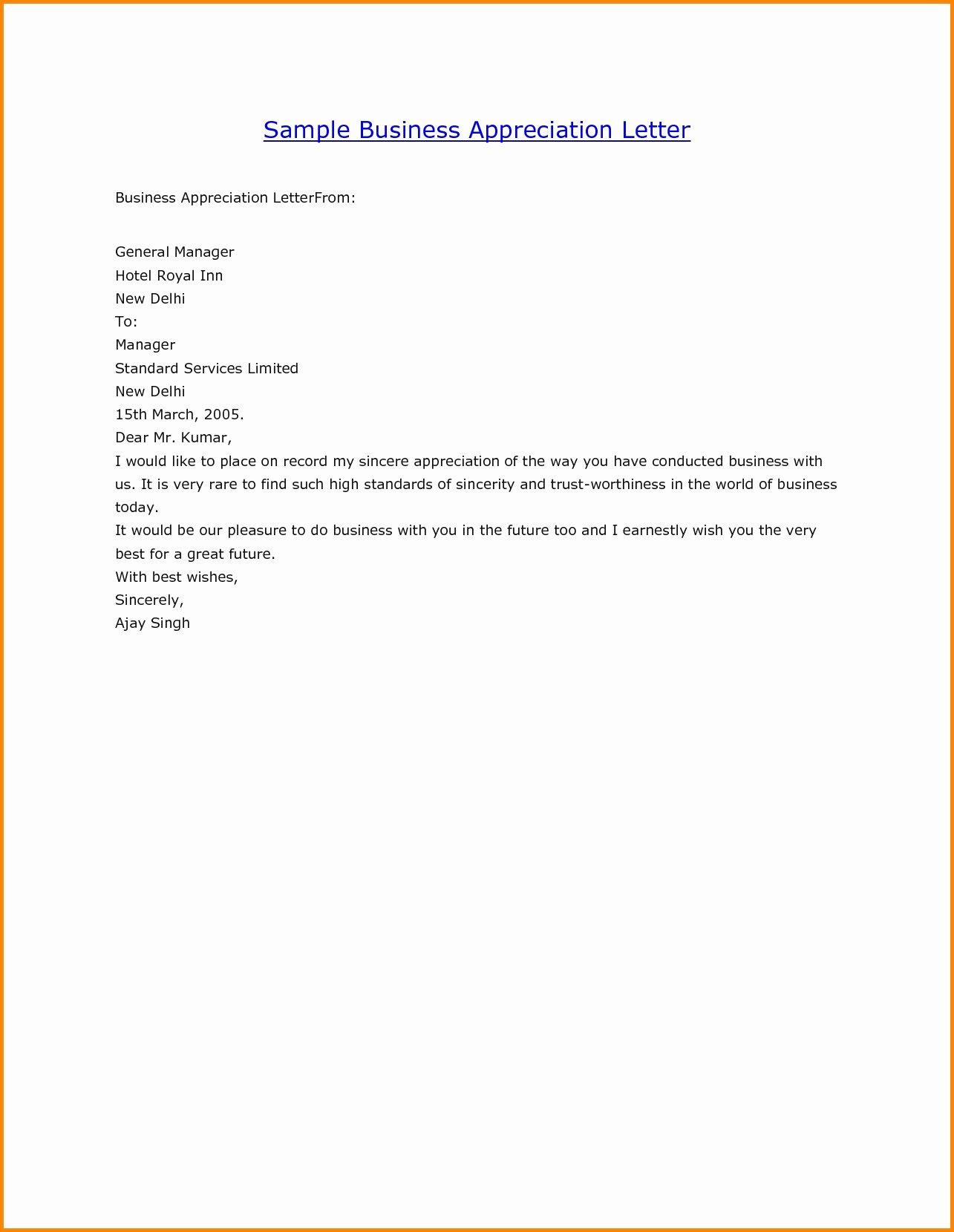 Business Appreciation Letter
