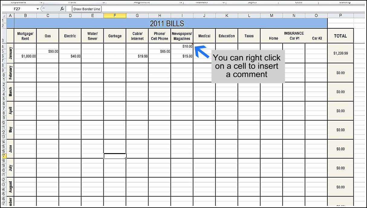 Business Bud Excel Template Monthly Spreadsheet