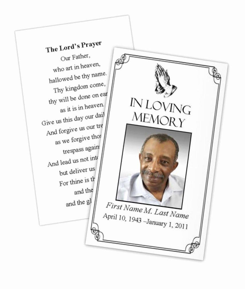 Business Card Shop Template Funeral Prayer Card