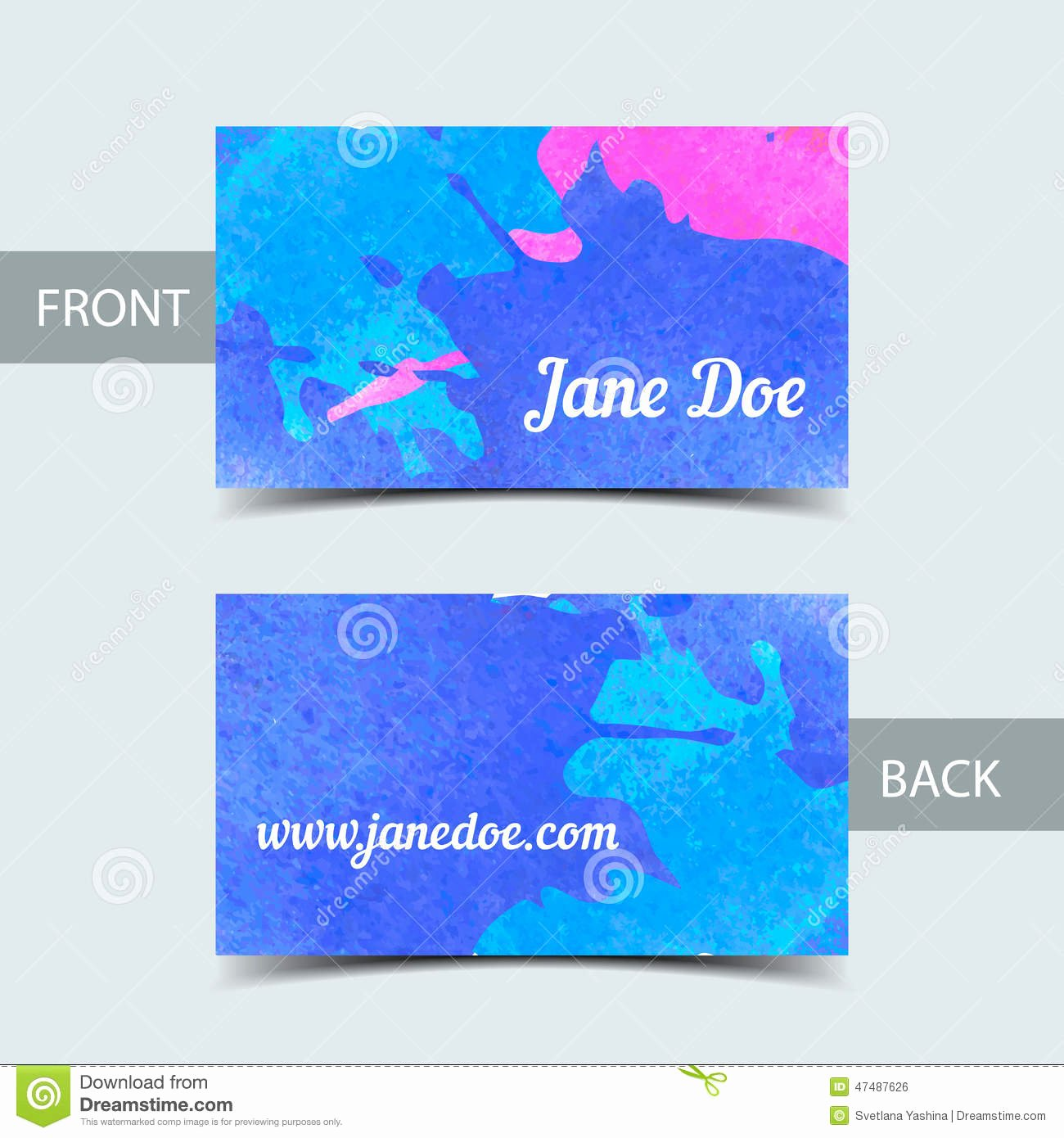 Business Card Template for Watrcolor Illustrator Stock