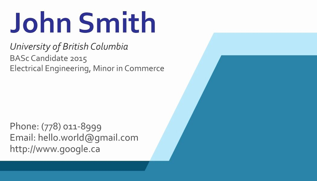 Business Cards Examples for Students
