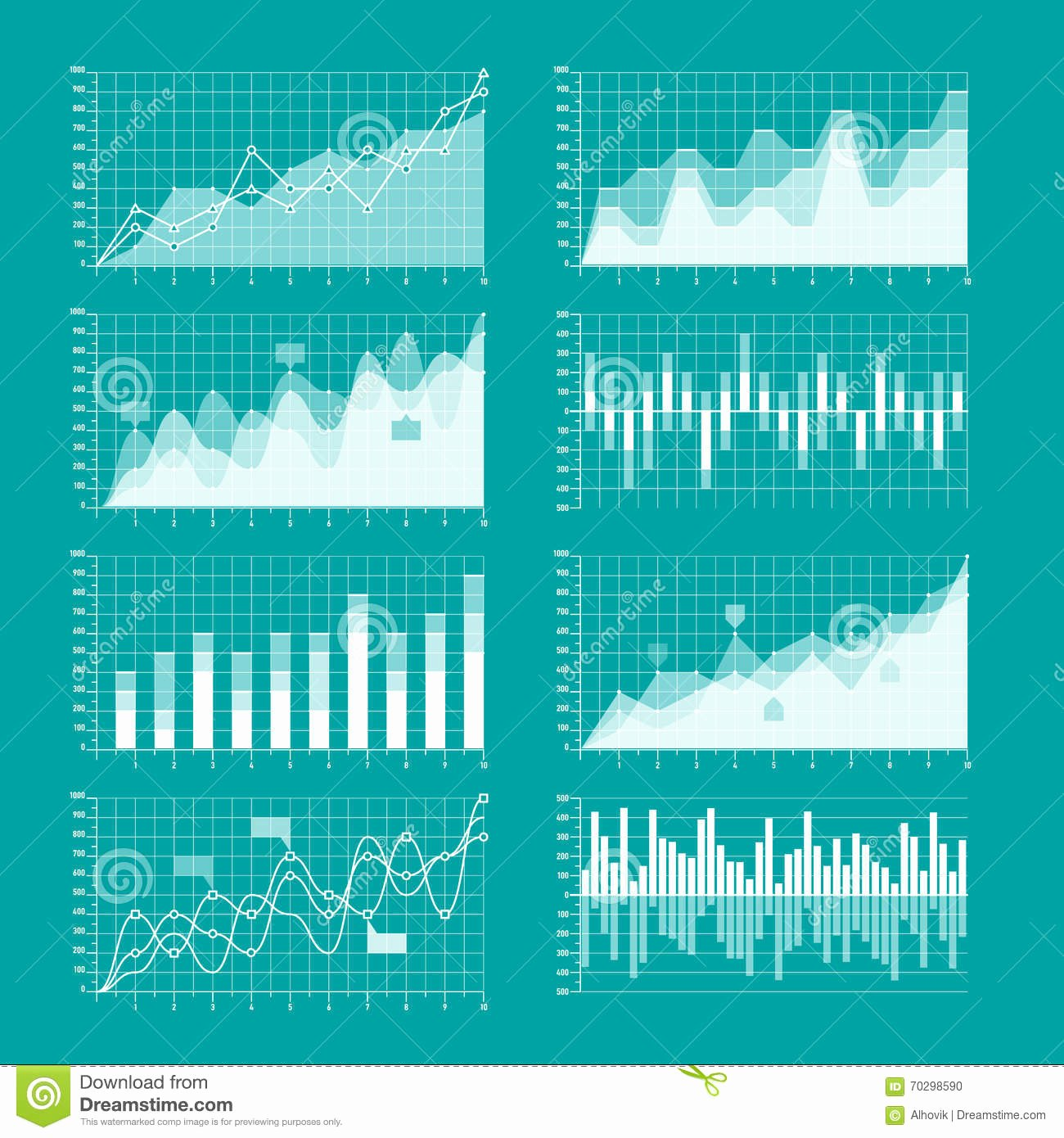 Business Charts and Graphs Template Stock Vector Image