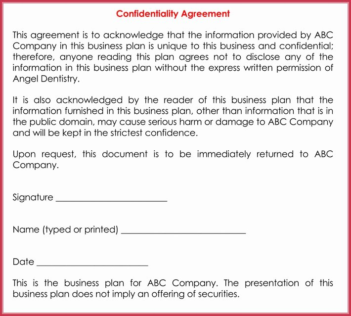 Business Confidentiality Agreement