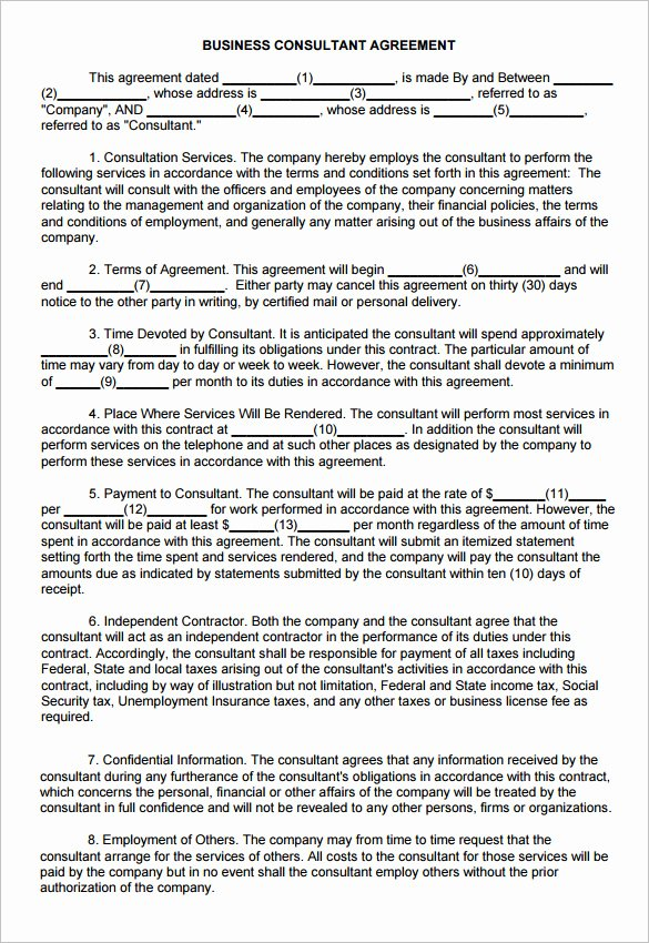 Business Consulting Agreement Template Free Templates