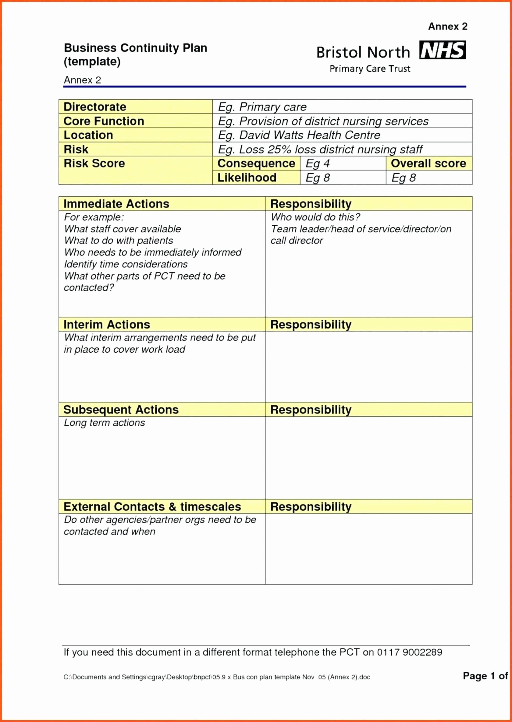 Business Continuity Plan Template Doc Template forms for