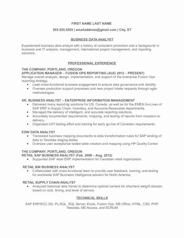 Business Data Analyst Resume