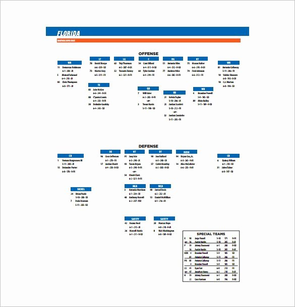 Business Depth Charts Template 9 Football Depth Chart