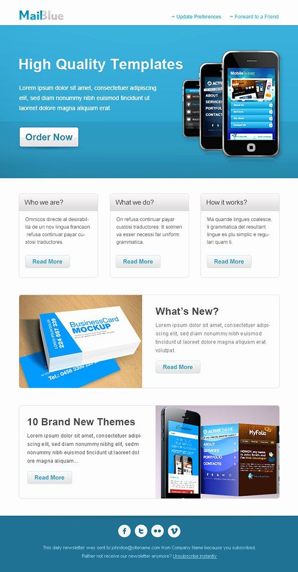 Business Email Template In Blue Colors Free Mail Templates