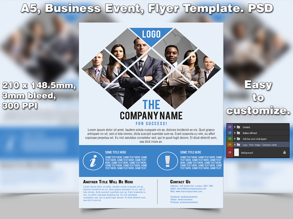 Business event Flyer Template A5 Psd by Studio81gfx On
