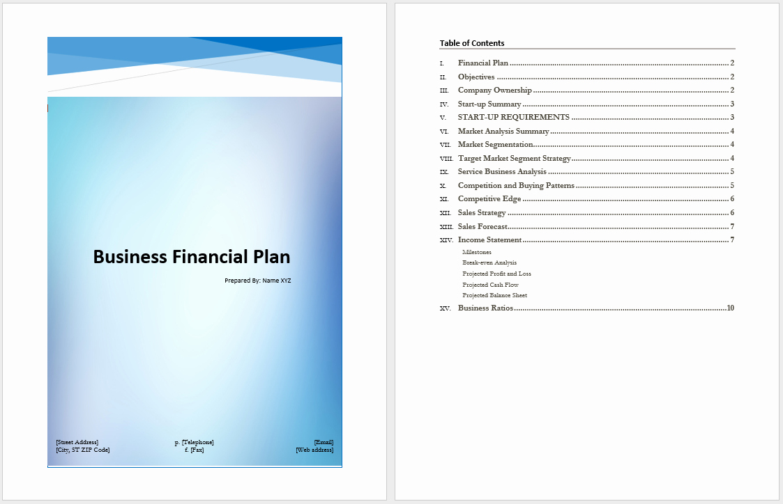 Business Financial Plan Template – Microsoft Word Templates