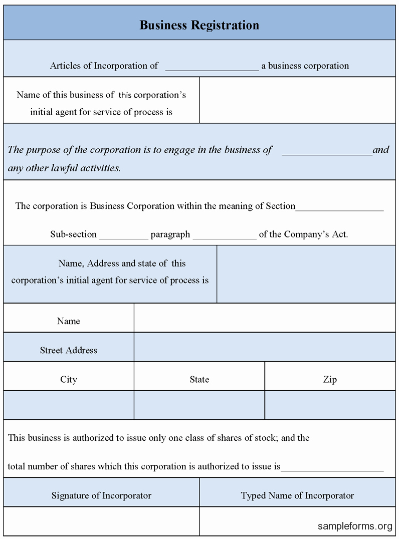 Business form Sample