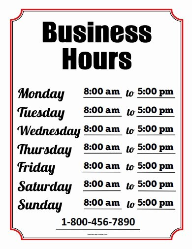 Business Hours Sign Free Printable Allfreeprintable