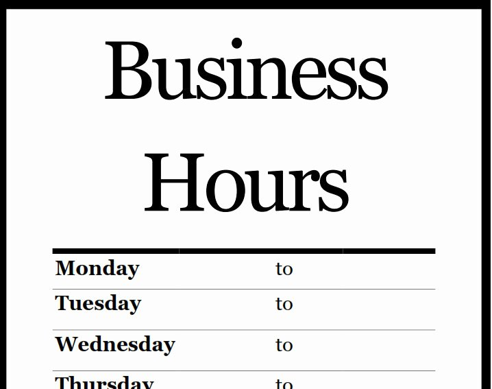 Business Hours Template