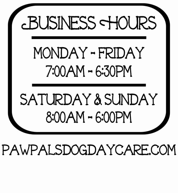 Business Hours Vinyl Decal Store Hours Open Hours