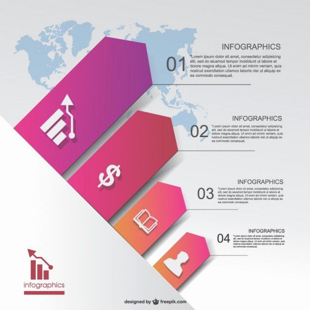 Business Infographic with Background World Map Vector
