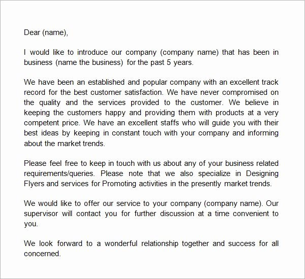 Business Introduction Letter Template …