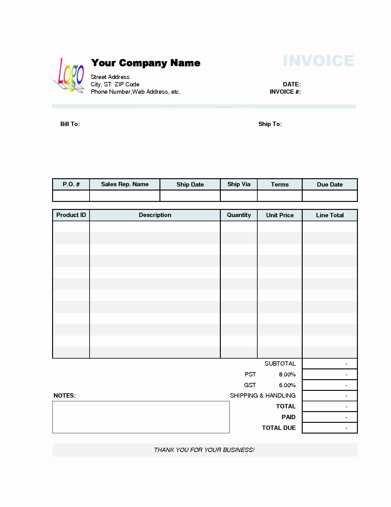Business Invoice Template Free