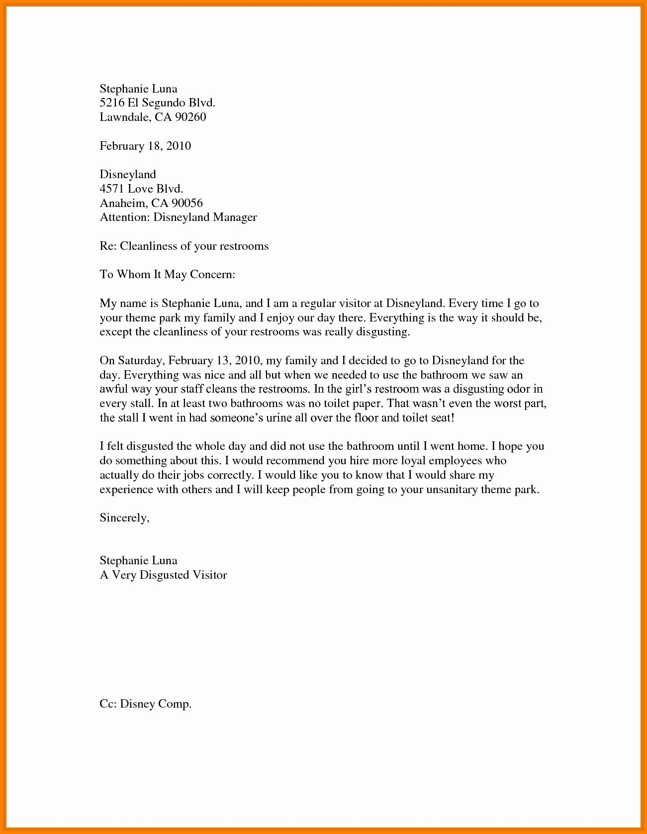 Business Letter Sample for Students